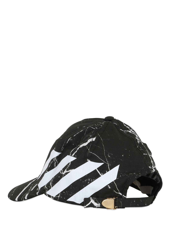 323c4efa Off-White c/o Virgil Abloh Marble Cotton Canvas Baseball Hat in ...