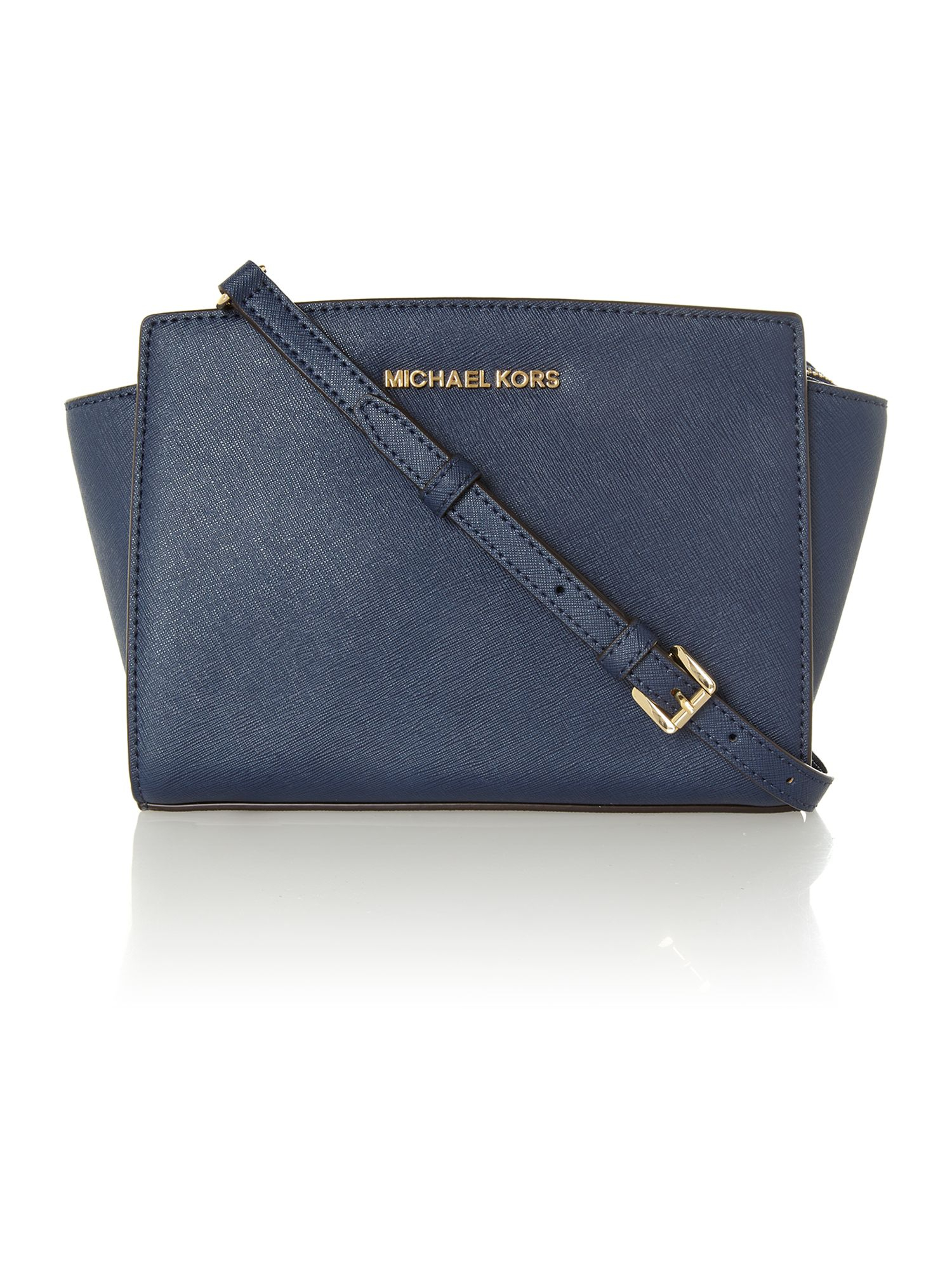 michael kors selma navy small cross body bag in blue lyst. Black Bedroom Furniture Sets. Home Design Ideas