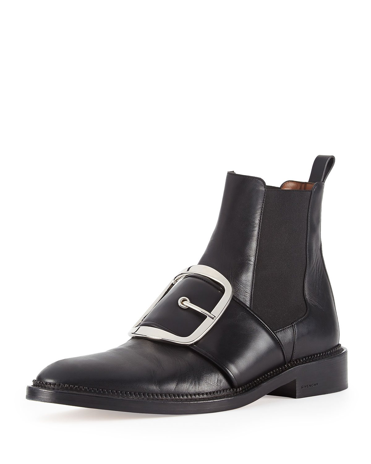 Givenchy Buckle-Strap Leather Ankle Boot in Black | Lyst