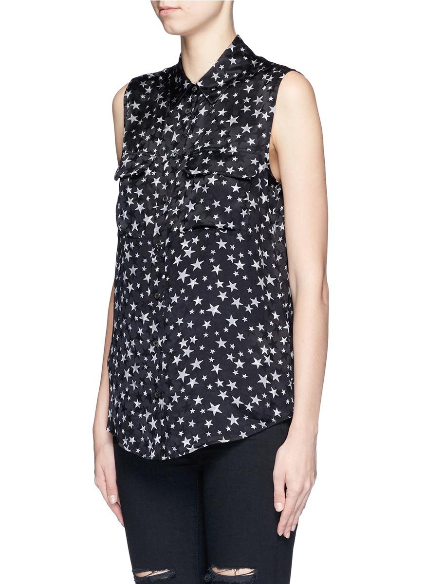 Equipment 39 slim signature 39 star print silk shirt in black for Equipment black silk shirt