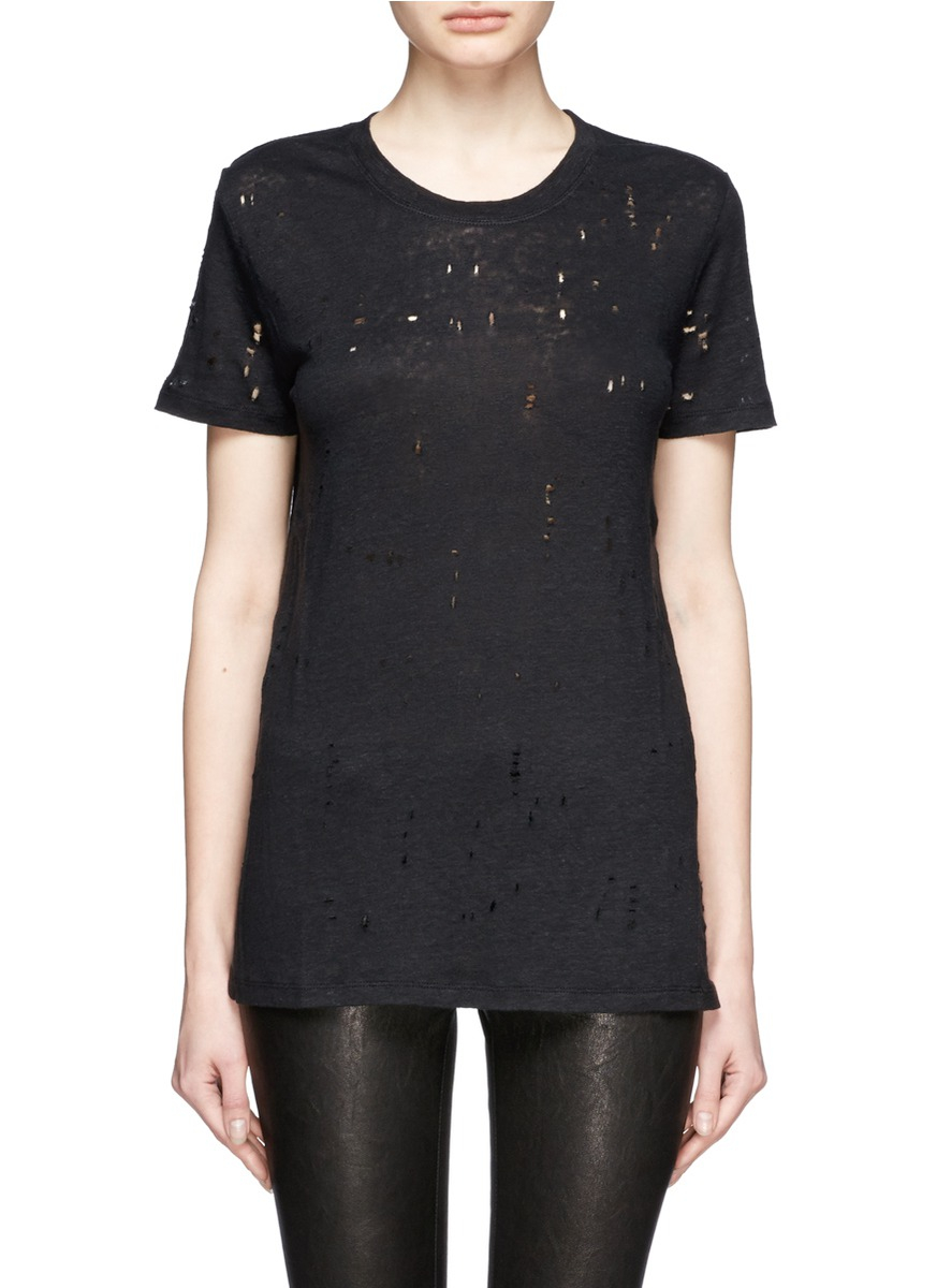 Lyst iro 39 clay 39 distressed linen t shirt in black for How to make a distressed shirt