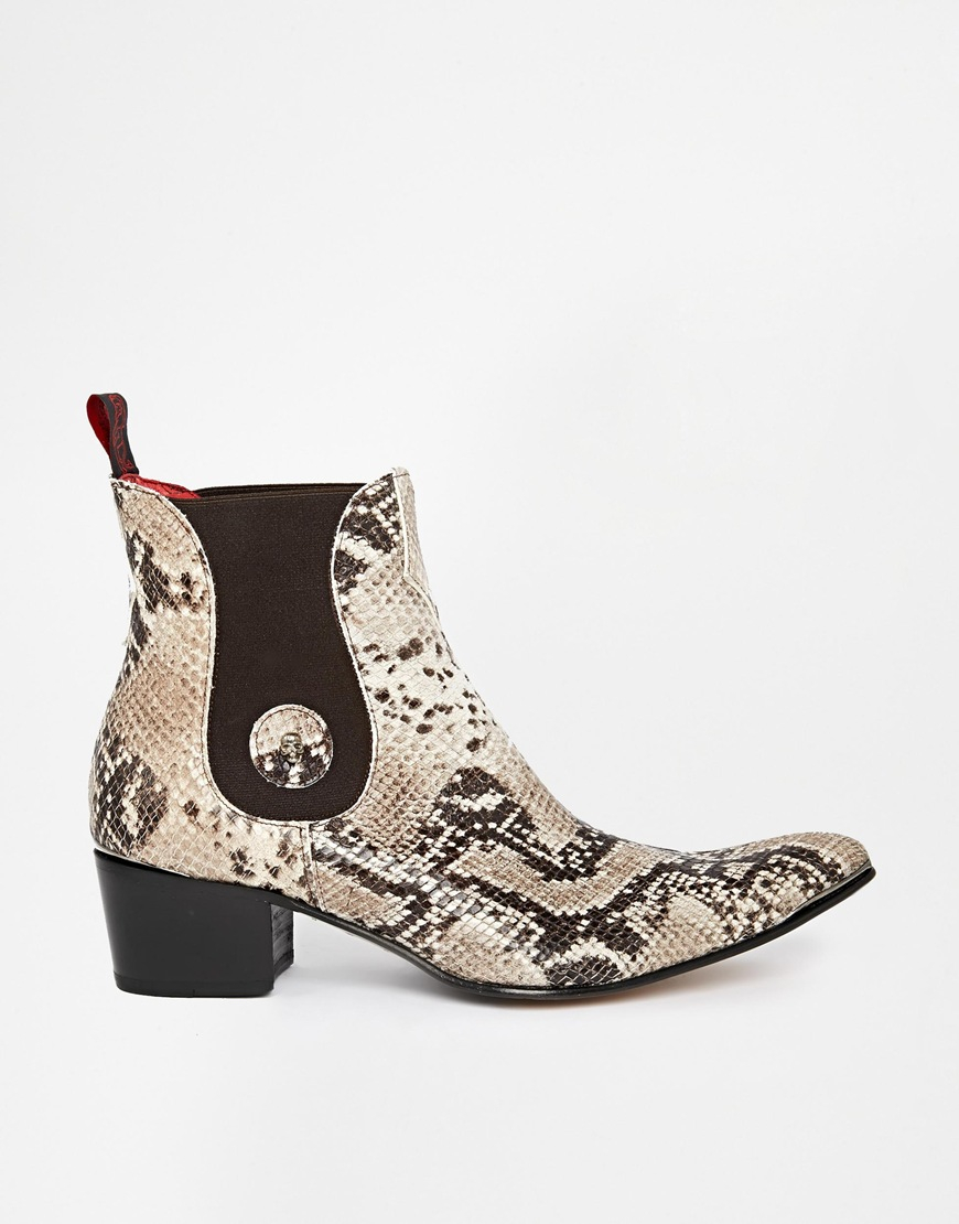 Lyst Jeffery West Snake Chelsea Boots In Natural For Men