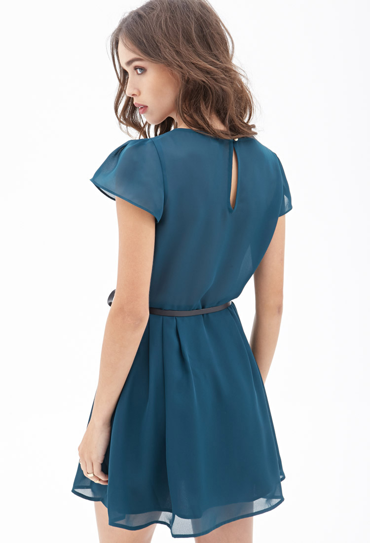 Forever 21 Belted Pleated Chiffon Dress in Blue   Lyst