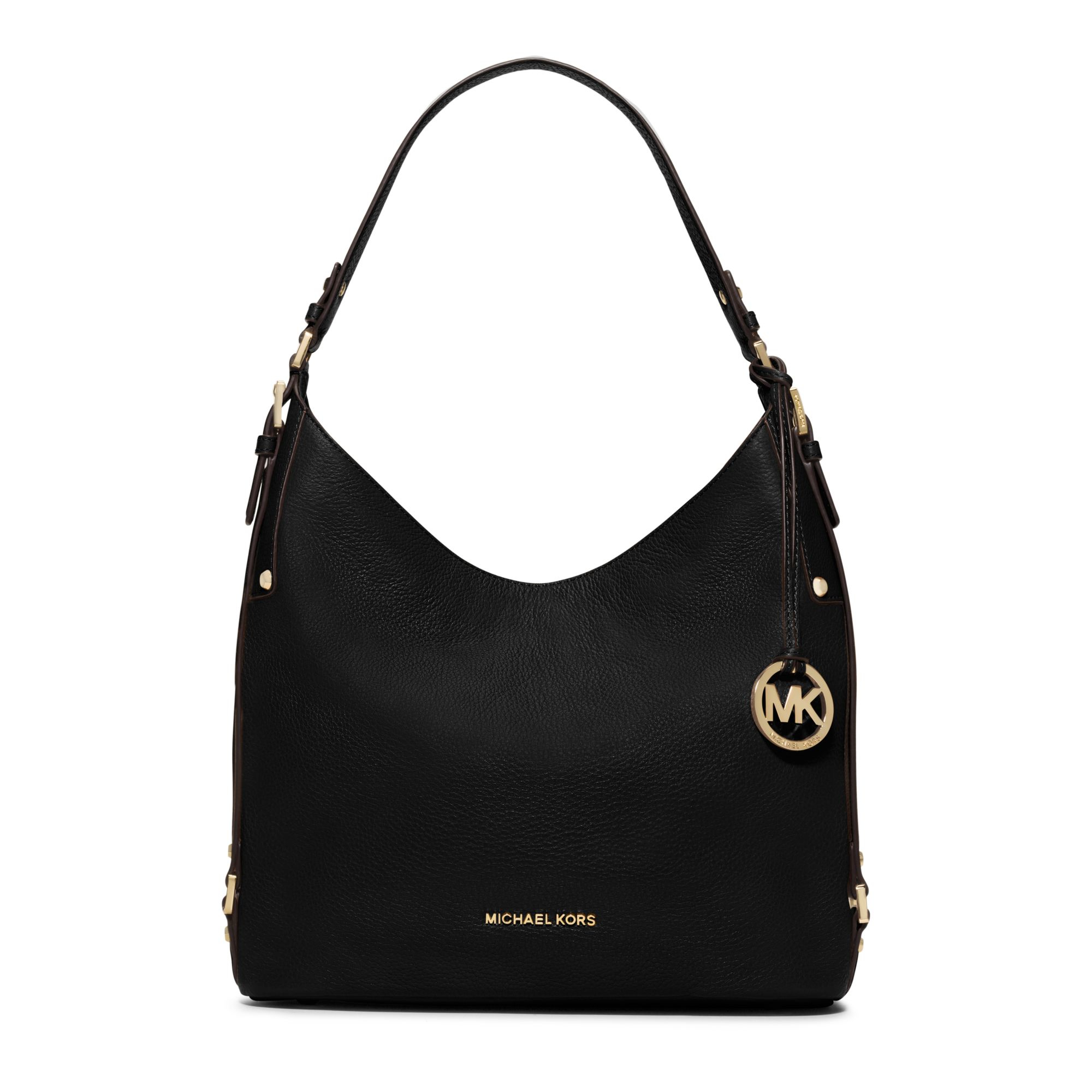 Michael kors Bedford Large Leather Shoulder Bag in Black | Lyst