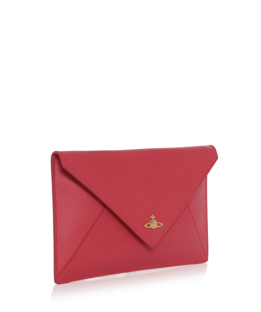 b8d42ec3a28 Vivienne Westwood Saffiano Clutch Bag in Red - Lyst