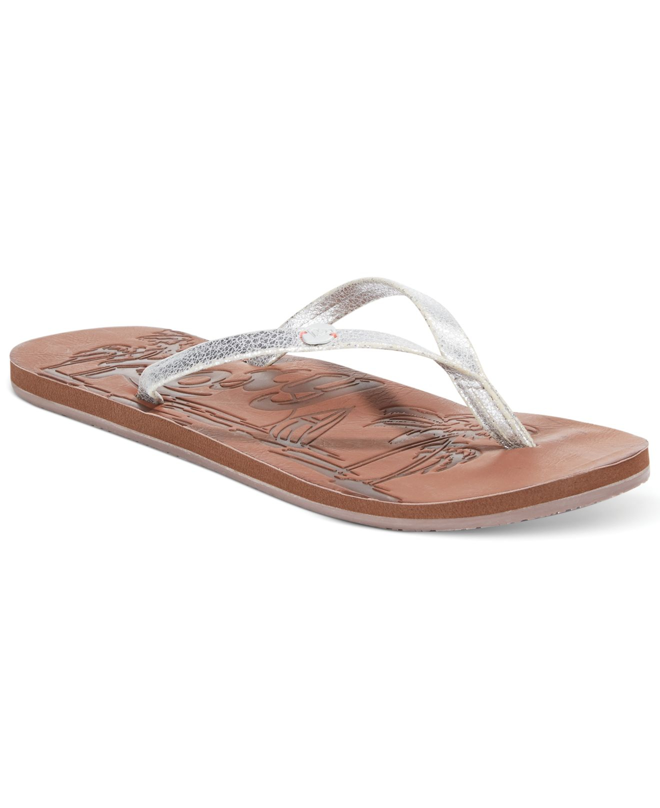 8436dee08c85 Lyst - Roxy Chia Flip Flops in Metallic