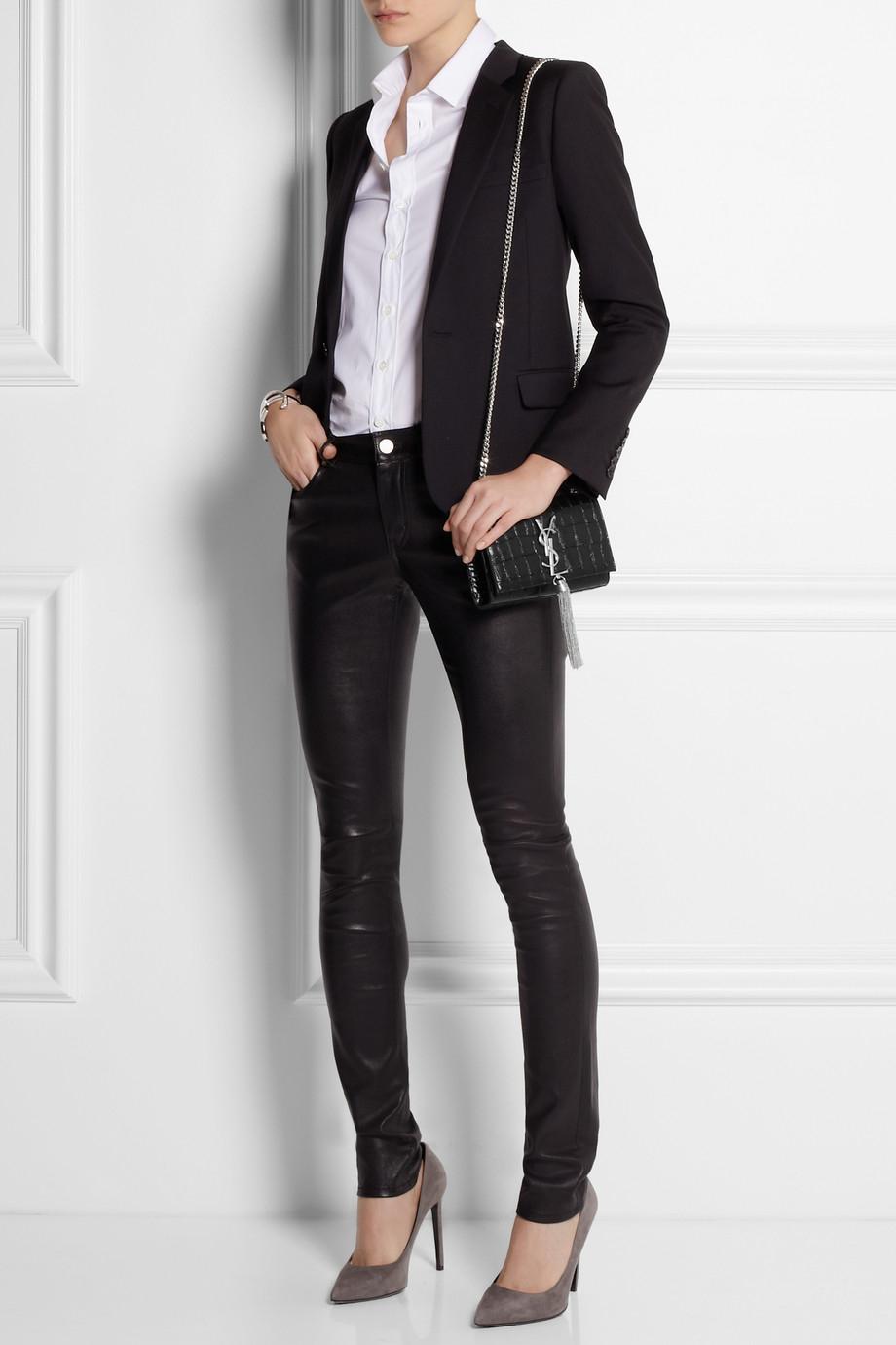 Lyst - Saint Laurent Monogramme Croceffect Leather Shoulder Bag in Black c5e872b169f4b