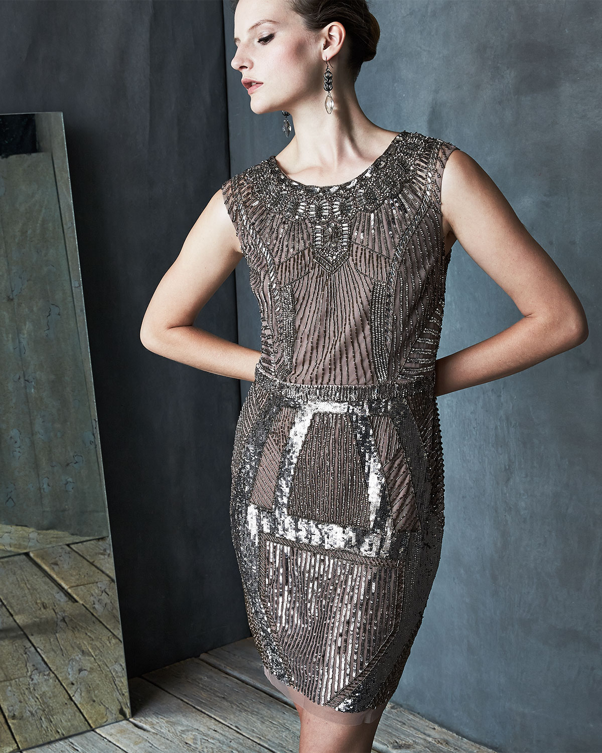 Lyst - Aidan Mattox Beaded & Sequined Art Deco Cocktail Dress in Natural