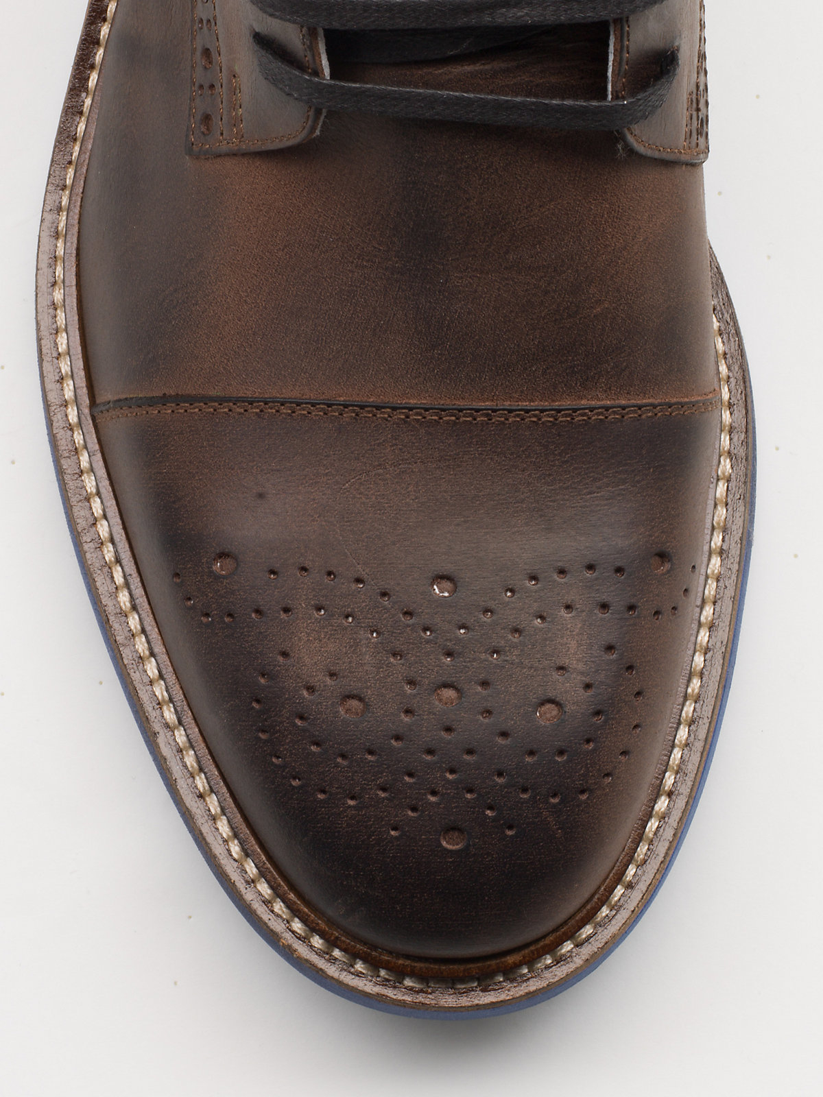 patrizia pepe flat leather commando boots in brown for