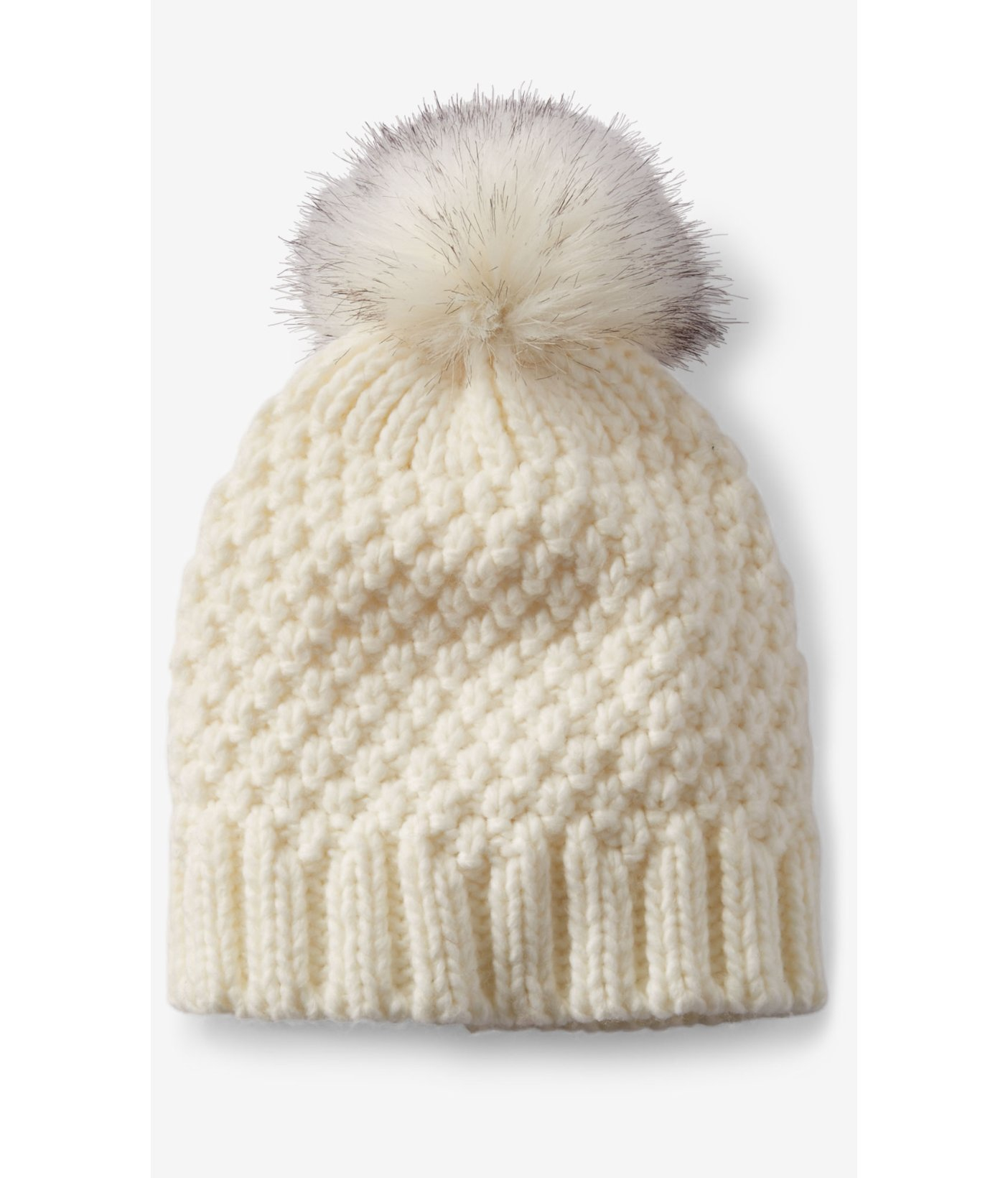 2c1e5b26 Express Ivory Faux Fur Pom Thick Knit Beanie in White - Lyst