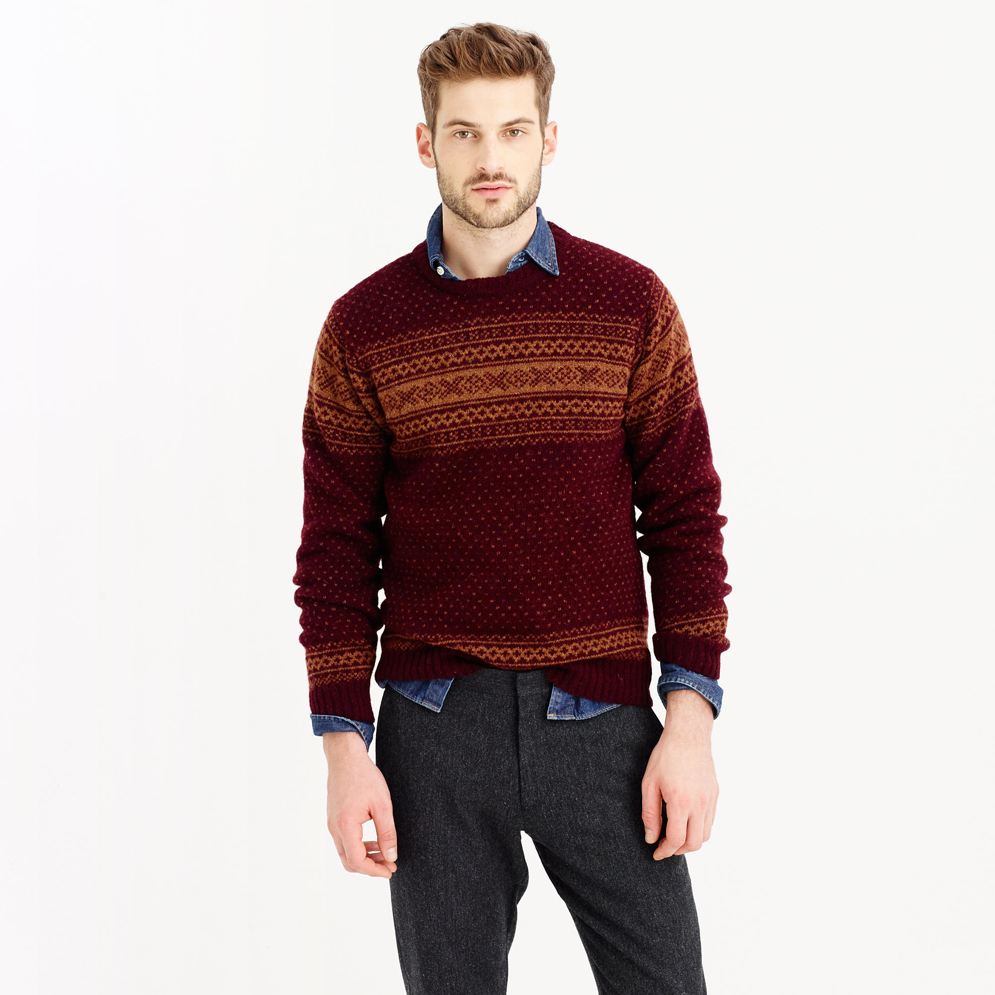 Lyst Jcrew Harley Of Scotland Noreasterly Sweater In Brown For Men