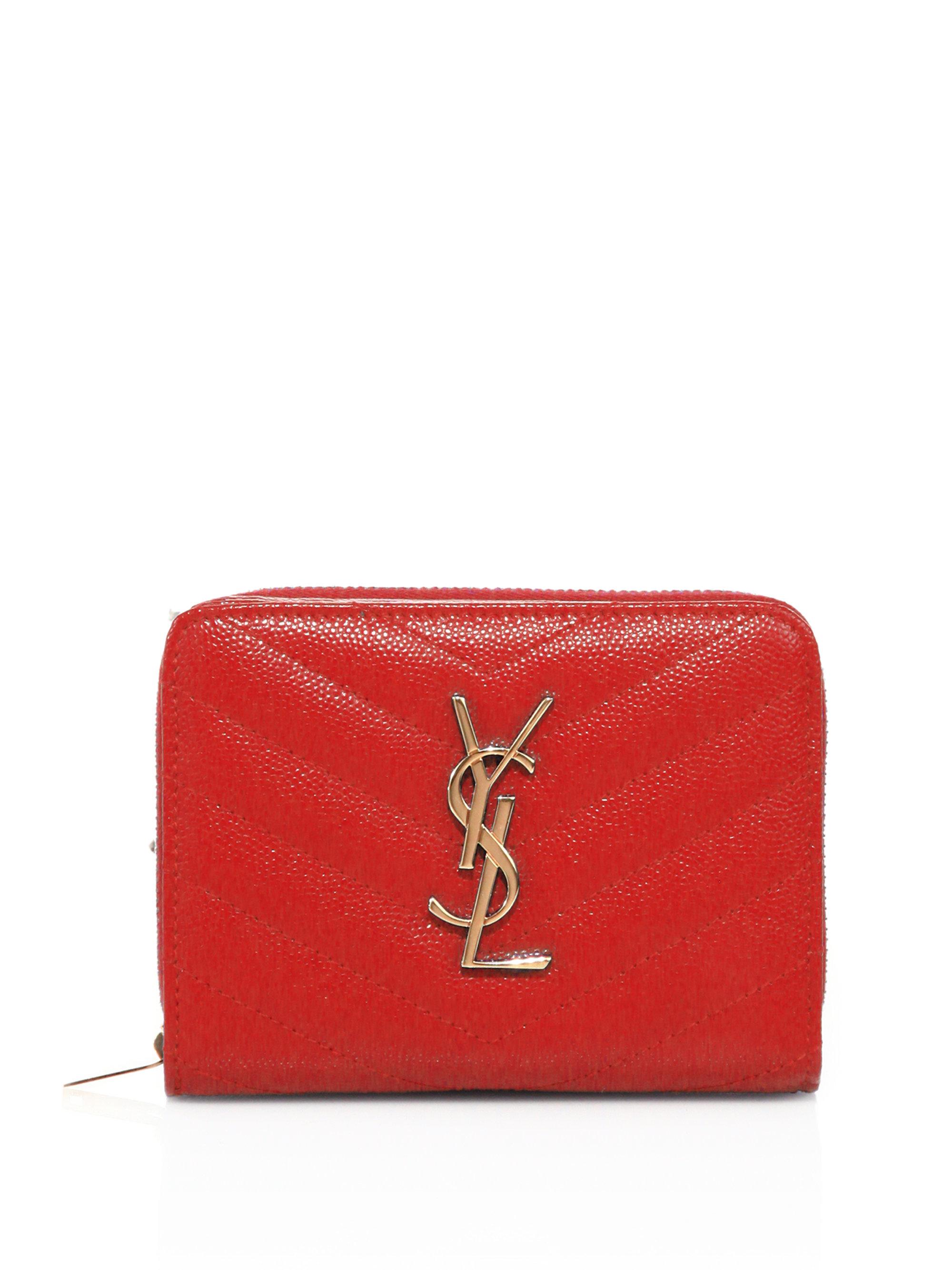 huge handbags for cheap - monogram saint laurent chain wallet in gold metallic grained leather