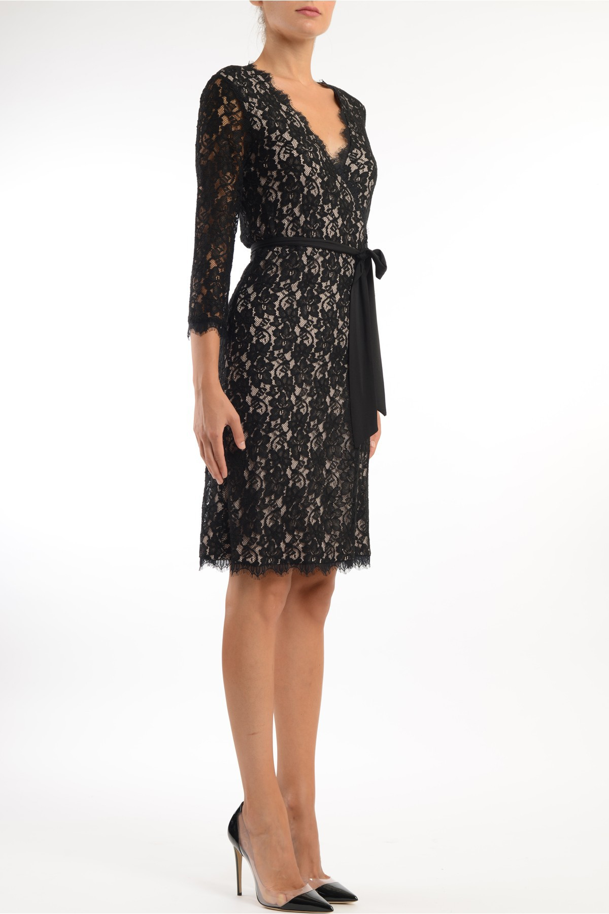 diane furstenberg lace dress with fabric belt in black
