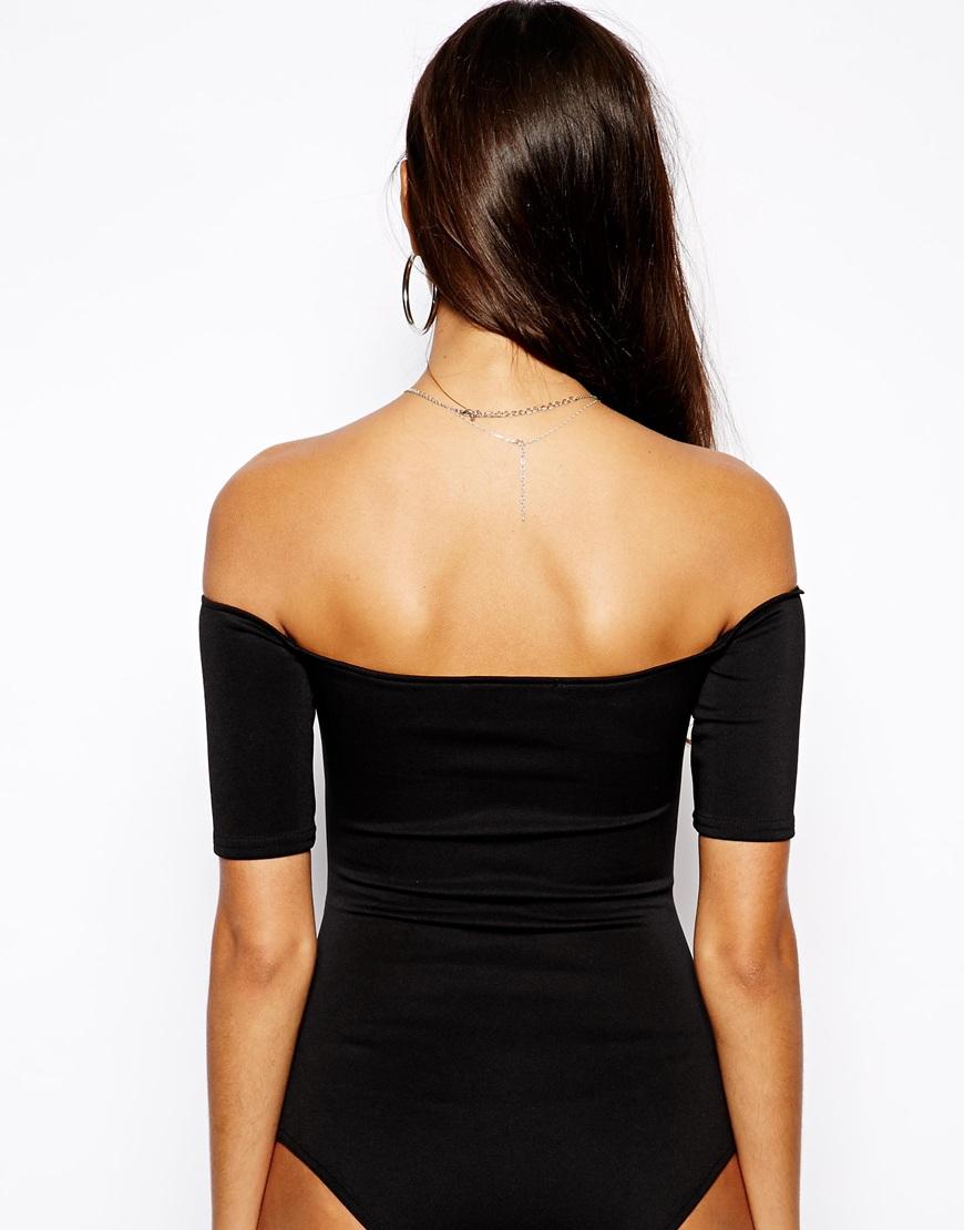 Lyst Oh My Love Off Shoulder Plunge Neck Bodysuit In Black 35f6bcb84