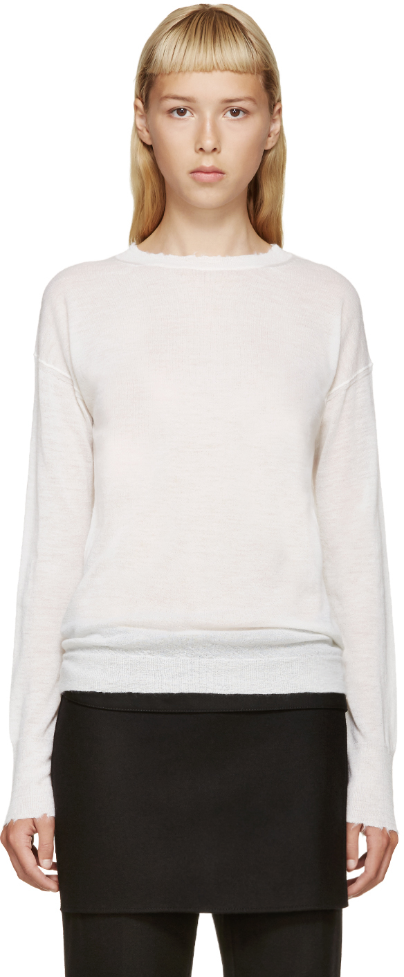 Helmut lang Ivory Frayed Cashmere Sweater in White | Lyst