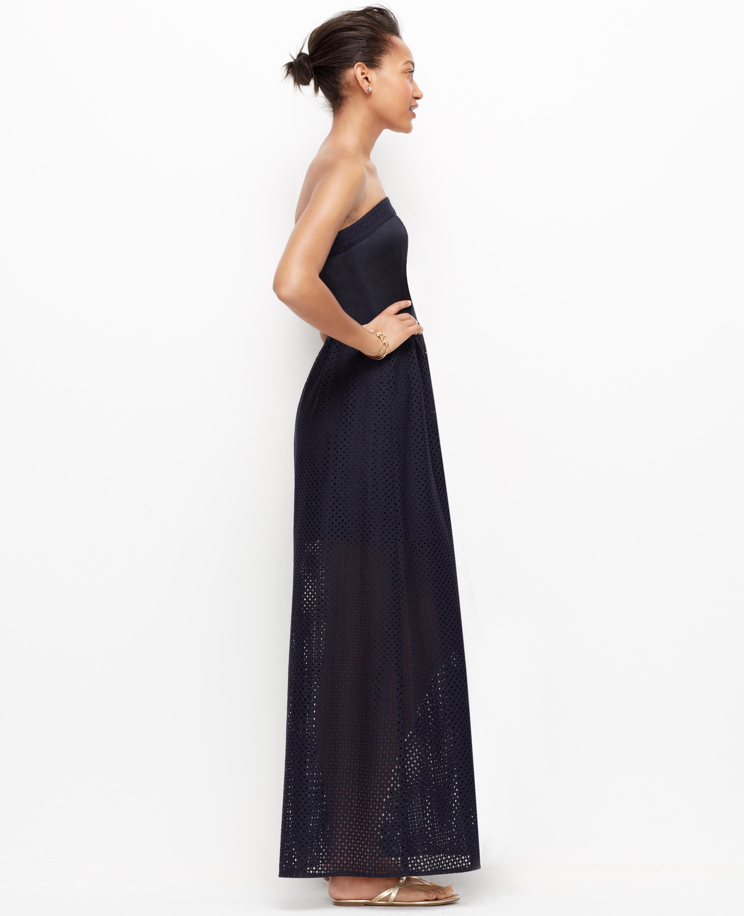 Petite strapless maxi dress