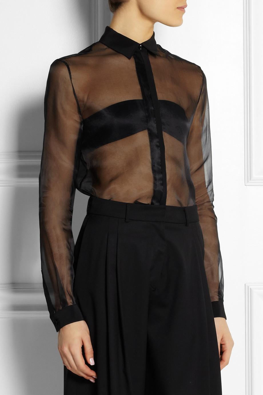 7de5dfe2cb532a Lyst - JOSEPH Jin Crepe-Trimmed Silk-Organza Shirt in Black