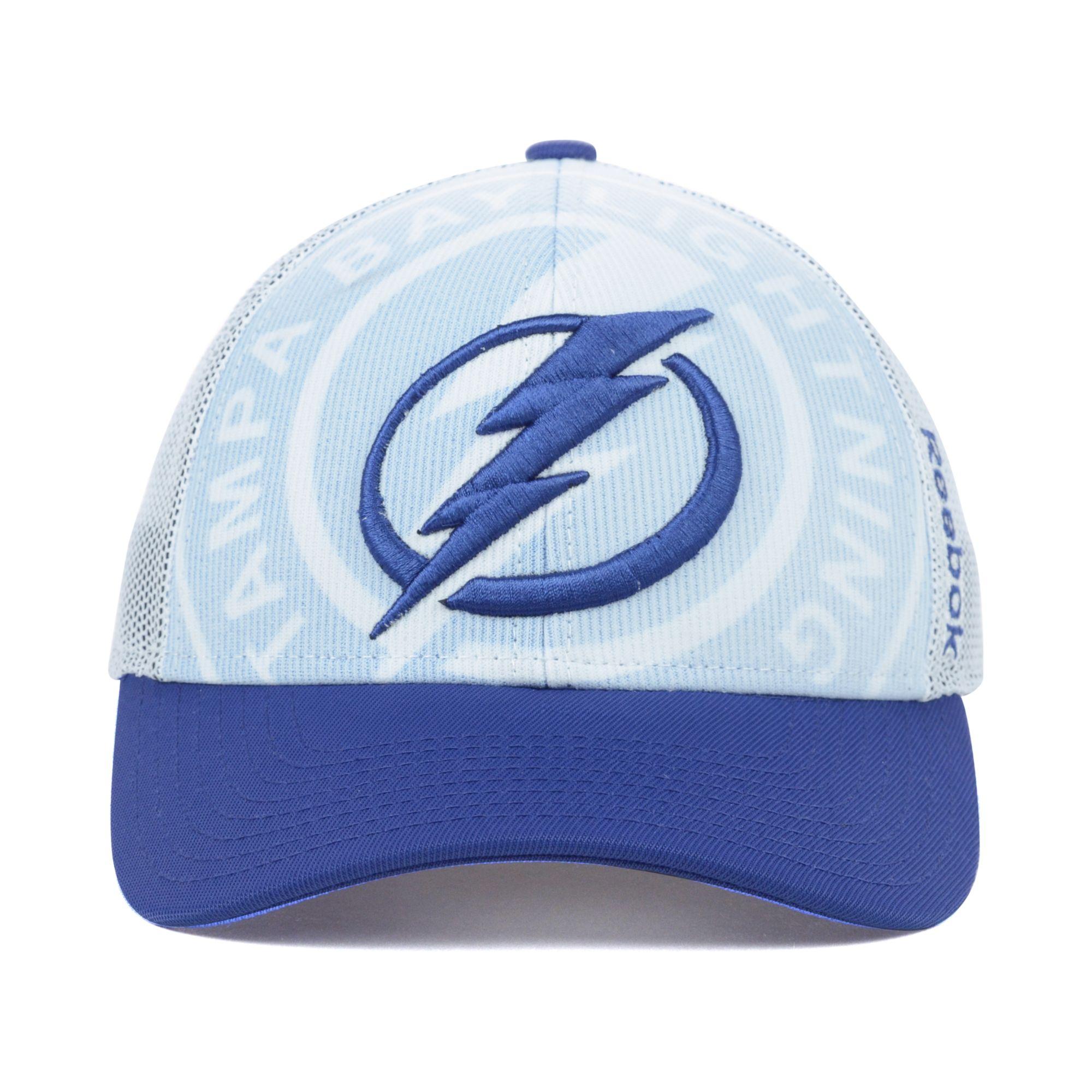 best service 5b0d9 24983 ... where to buy lyst reebok tampa bay lightning nhl draft cap in blue for  men 94c10