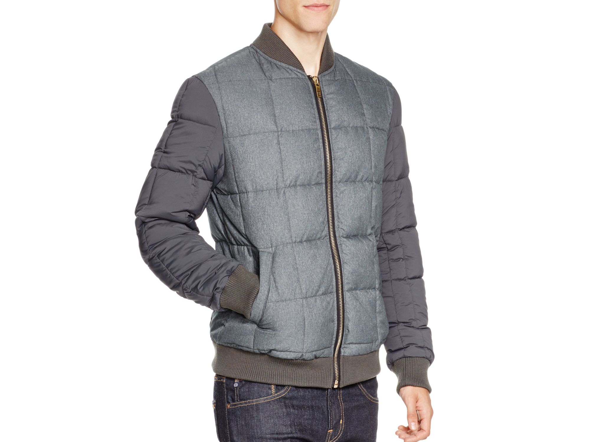 Lyst Scotch Soda Quilted Nylon Bomber Jacket In Gray For Men