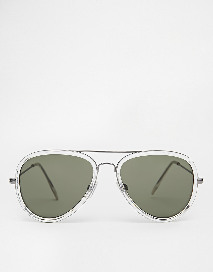 6e6af99f19 Lyst - ASOS Aviator Sunglasses In Grey With Clear Frame in Gray for Men