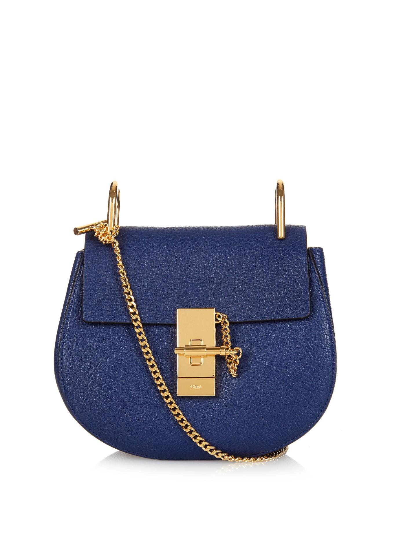 chlo drew mini leather cross body bag in blue lyst. Black Bedroom Furniture Sets. Home Design Ideas