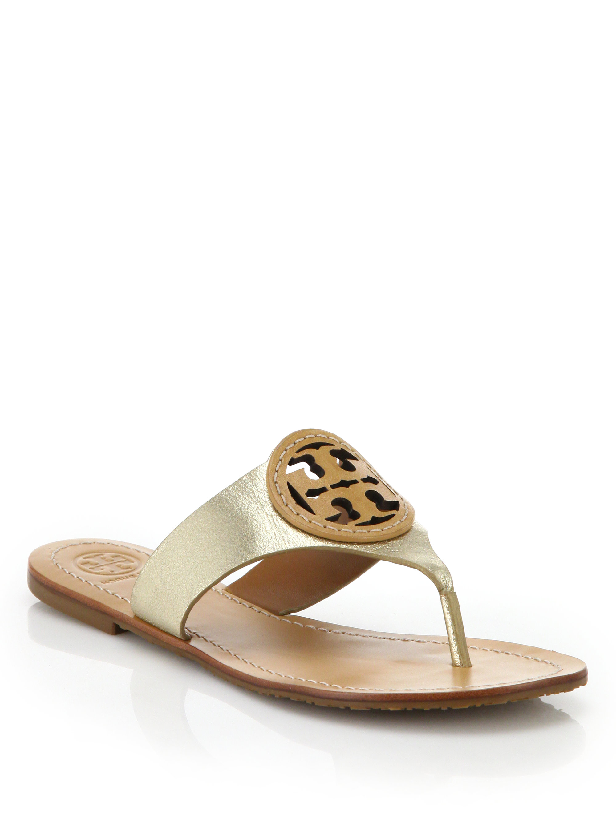 f51a5cd36 Lyst - Tory Burch Louisa Metallic Leather Thong Sandals in Metallic