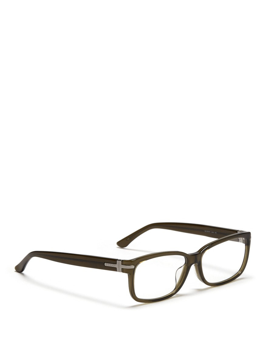 Gucci Glasses Frame 2014 : Gucci Rectangular Frame Optical Glasses in Green Lyst
