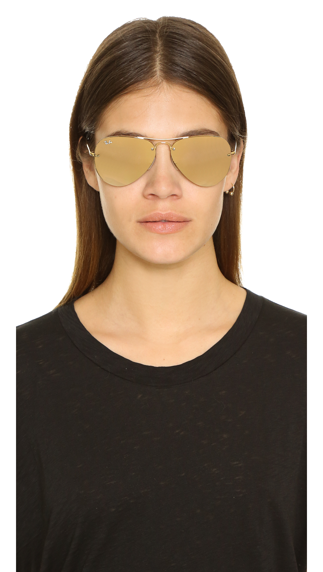 ray ban gold mirrored aviator sunglasses  gallery. previously sold at: shopbop · women's mirrored sunglasses