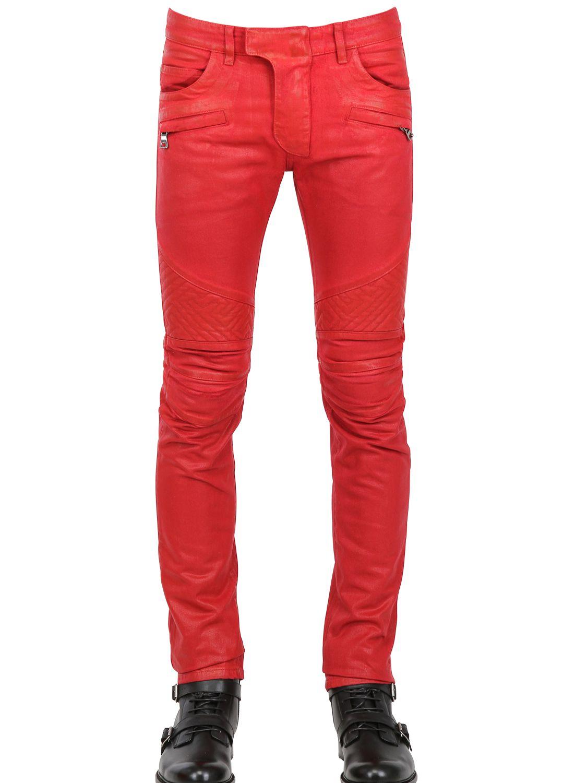 1c427bd7 Balmain 18cm Geometric Waxed Denim Biker Jeans in Red for Men - Lyst