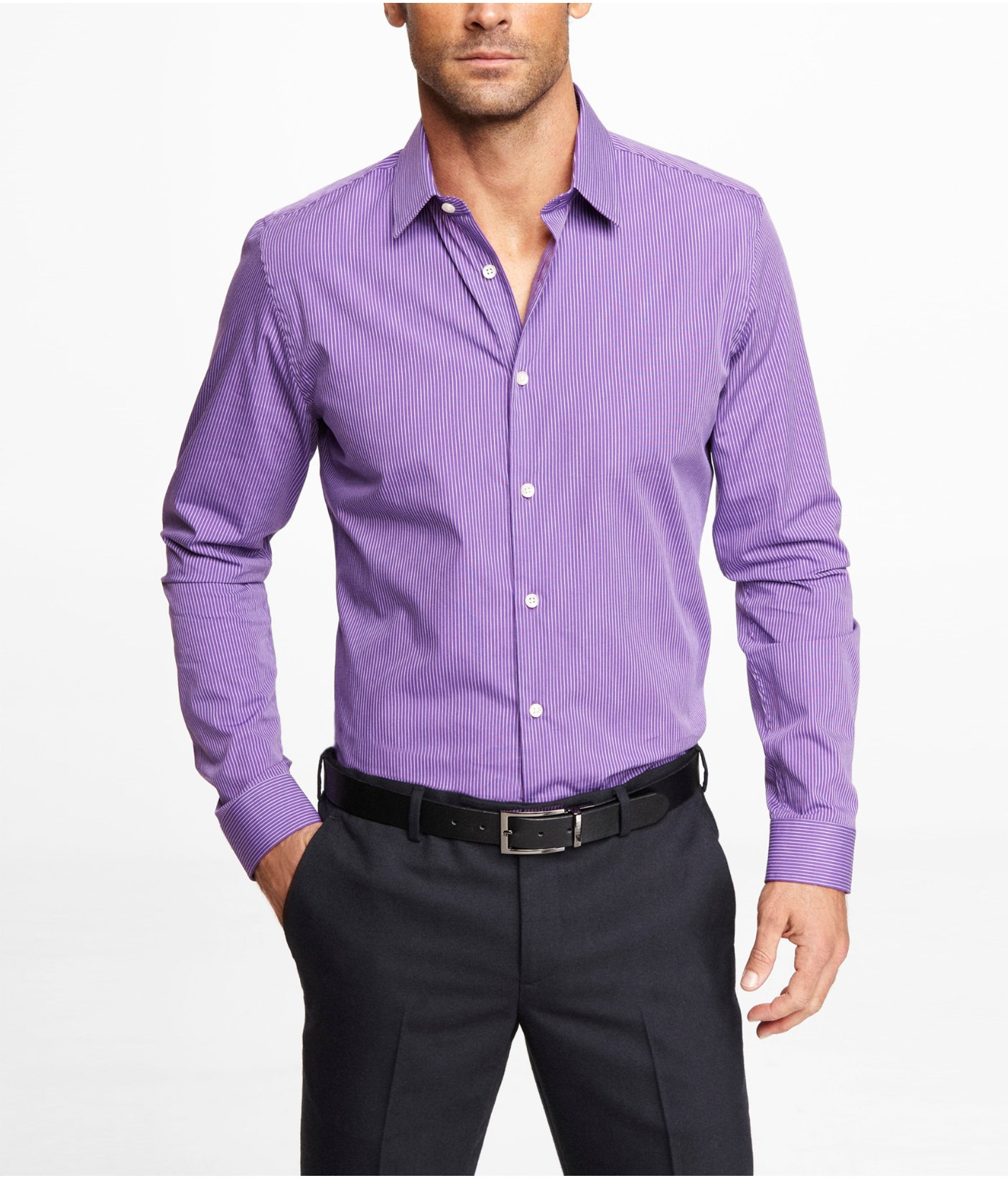 Express Fitted Striped Dress Shirt in Purple for Men | Lyst