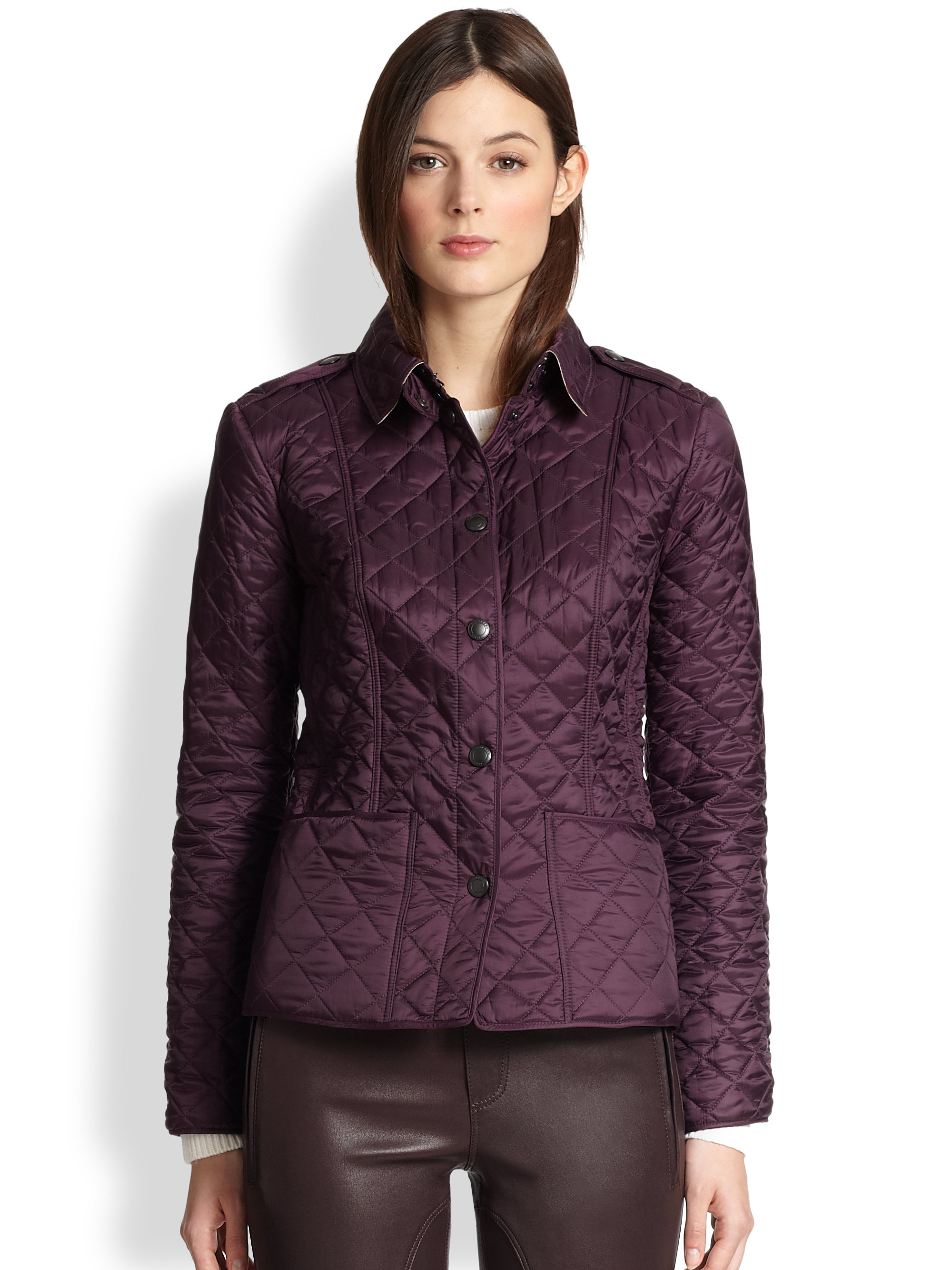 Burberry Kencott Quilted Jacket in Purple | Lyst : burberry purple quilted jacket - Adamdwight.com