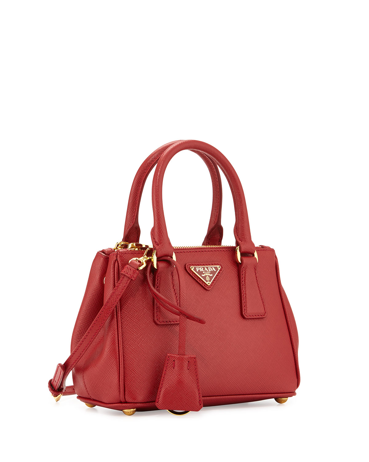 ba61b3c10935 ... sweden lyst prada extra mini saffiano leather cross body bag in red  bbf8d 2f36b