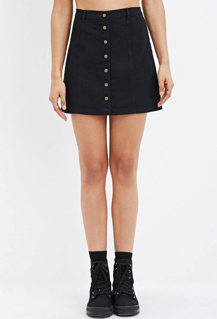 Forever 21 Button-down Denim Skirt in Black | Lyst