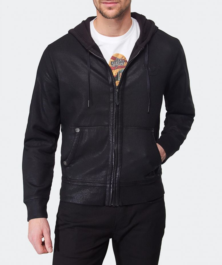 6b7d7c8fb True Religion Coated Hoodie in Black for Men - Lyst