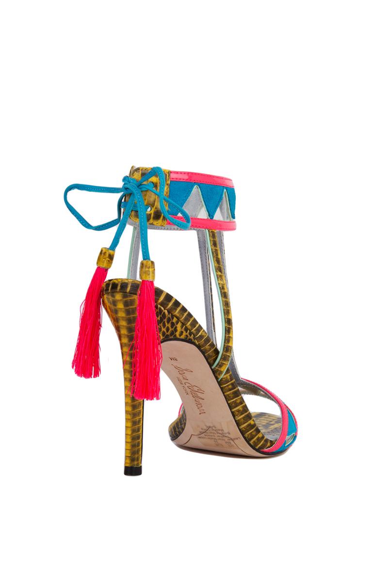 369024fffc91a9 Lyst - Sam Edelman Sadie Blue Gold Bright Neon T-strap Heeled Tassel ...