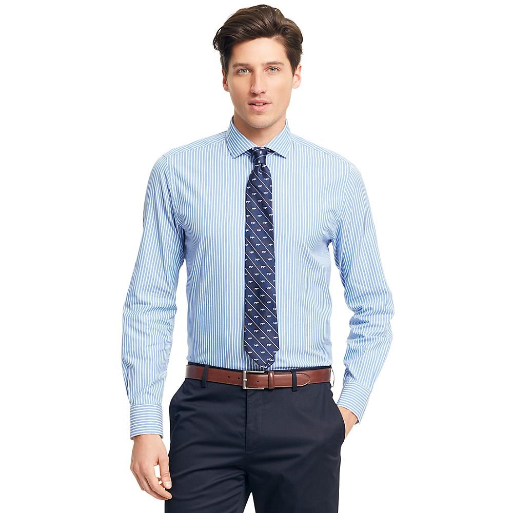 tommy hilfiger new york fit banker stripe shirt in blue. Black Bedroom Furniture Sets. Home Design Ideas