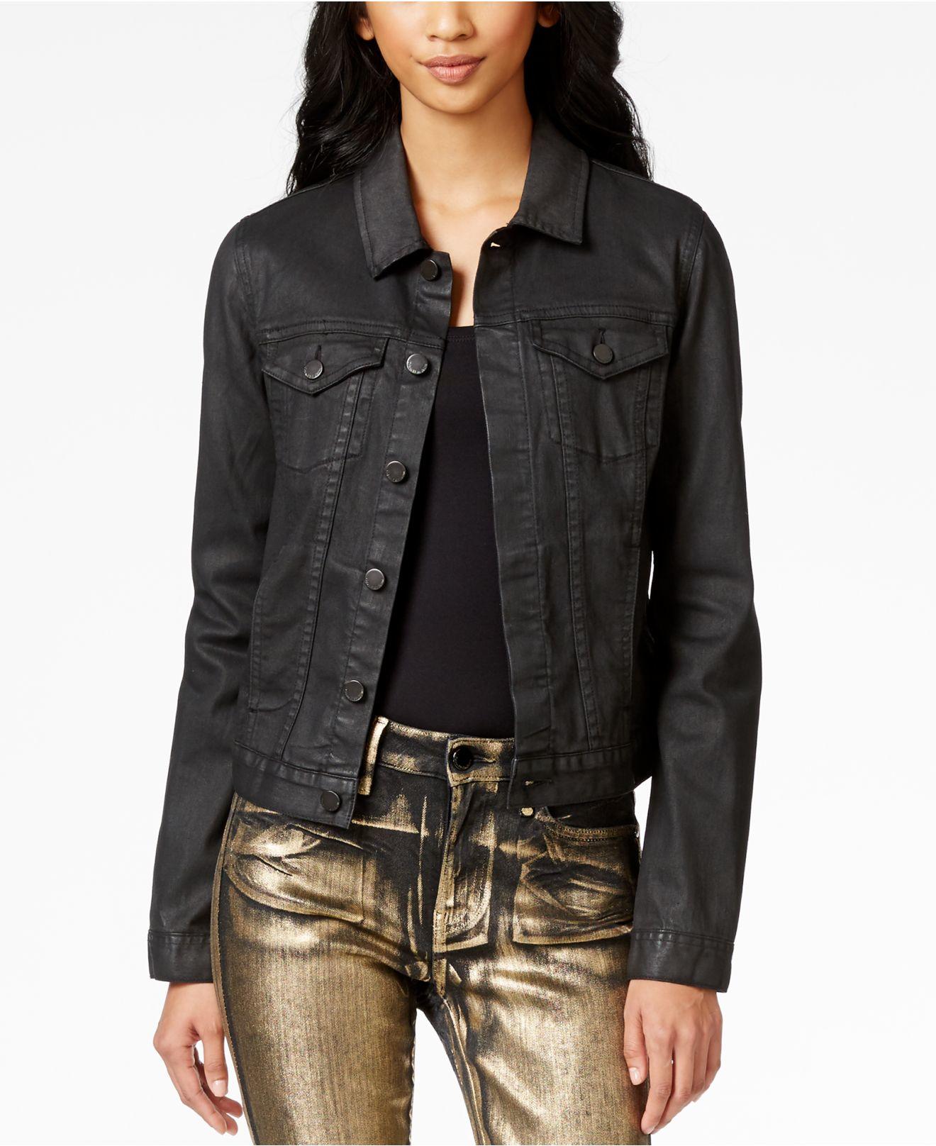 Calvin klein jeans Coated Trucker Jacket in Black | Lyst