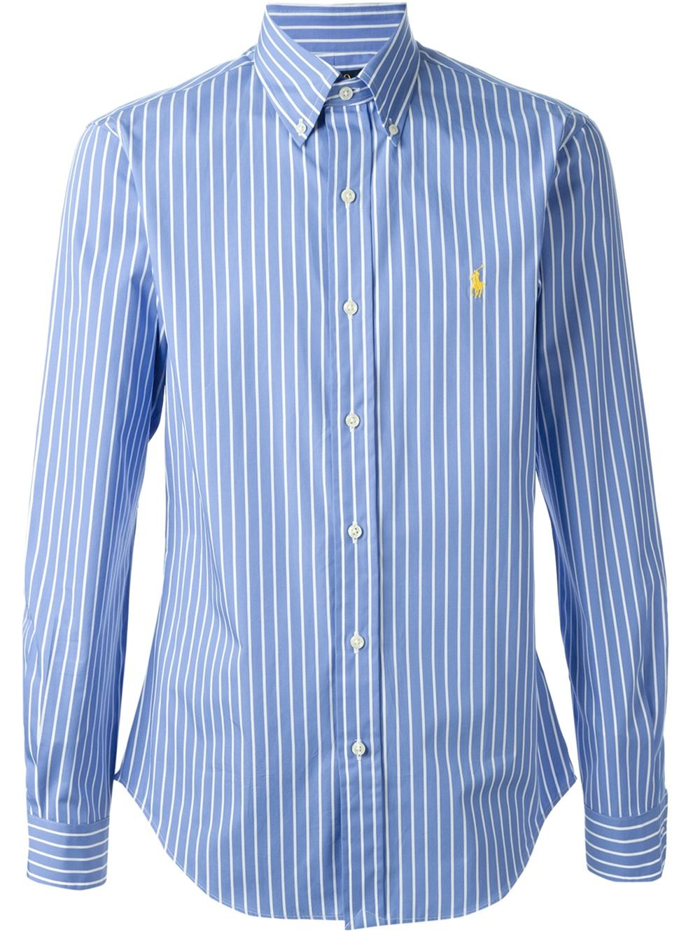 Polo ralph lauren striped shirt in blue for men lyst for Blue striped shirt mens