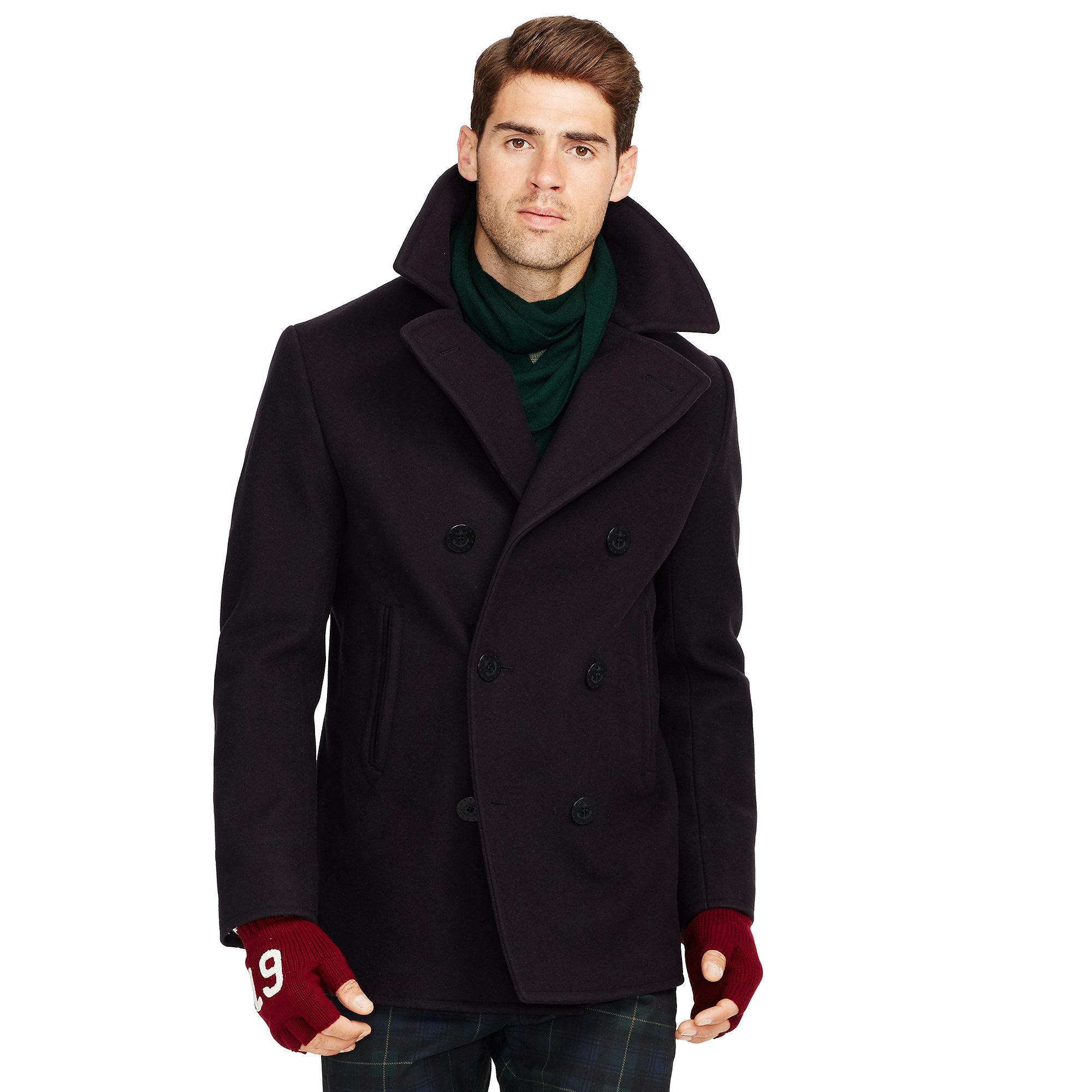 Polo ralph lauren Wool-blend Pea Coat in Blue for Men | Lyst