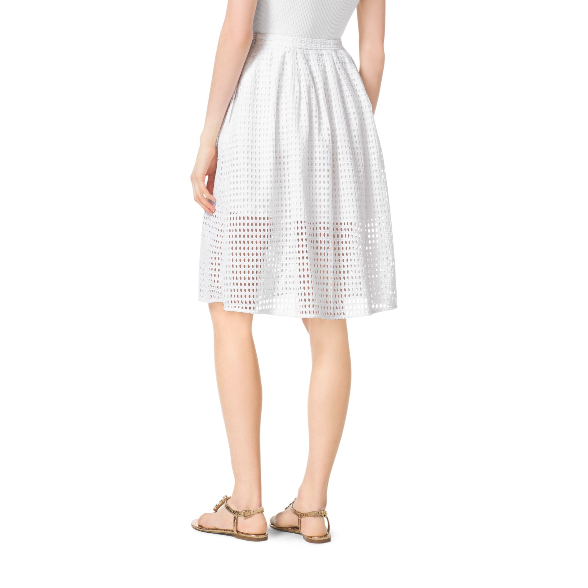 Michael kors Eyelet Skirt in White | Lyst