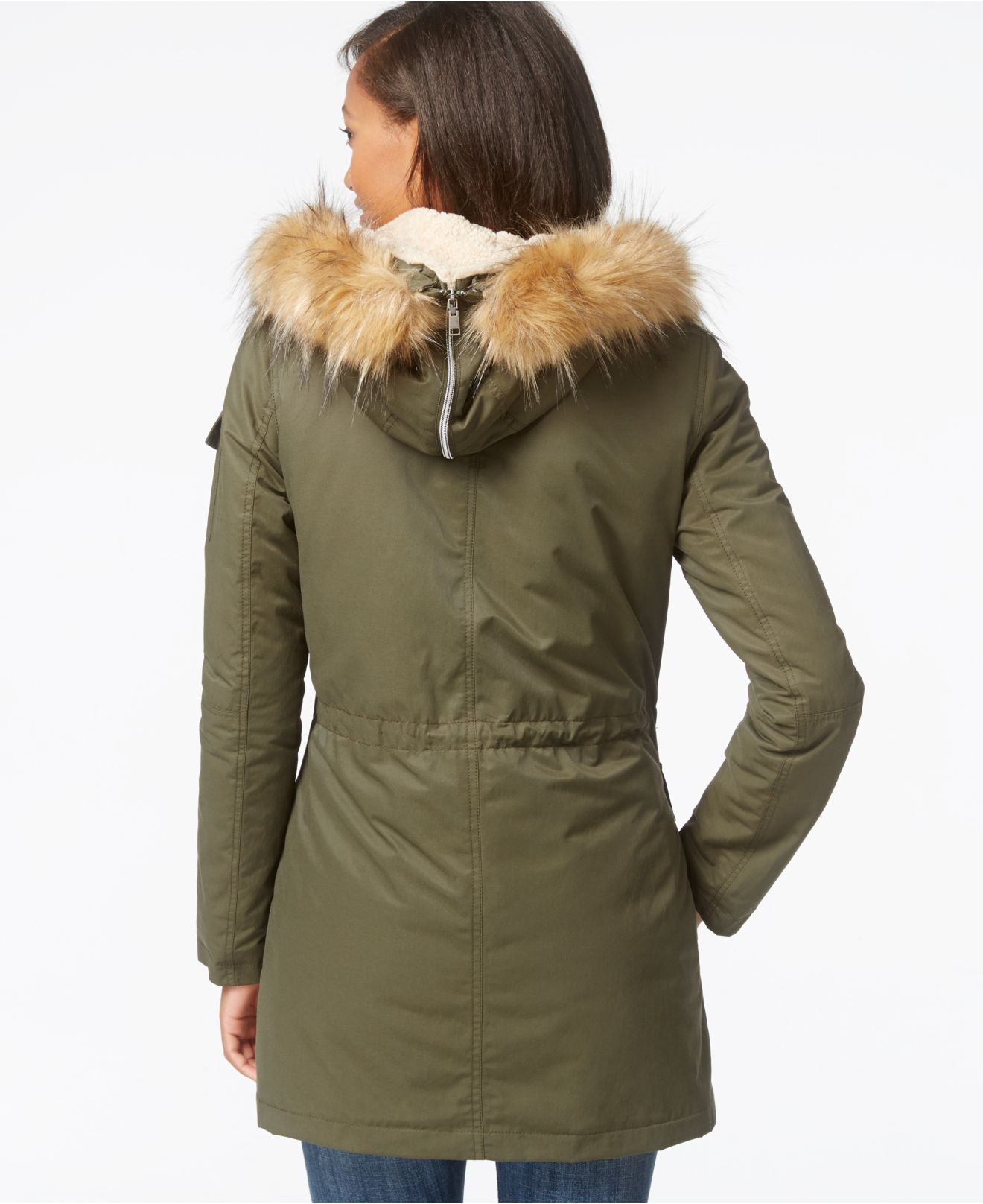 Tommy Hilfiger Faux-sherpa-lined Anorak Jacket in Olive ...