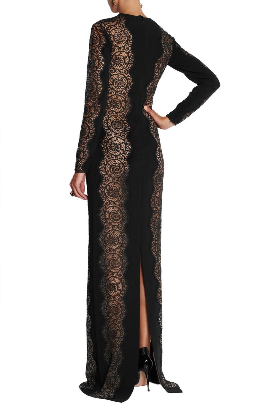 Lace-paneled crêpe dress Stella McCartney CzavFh
