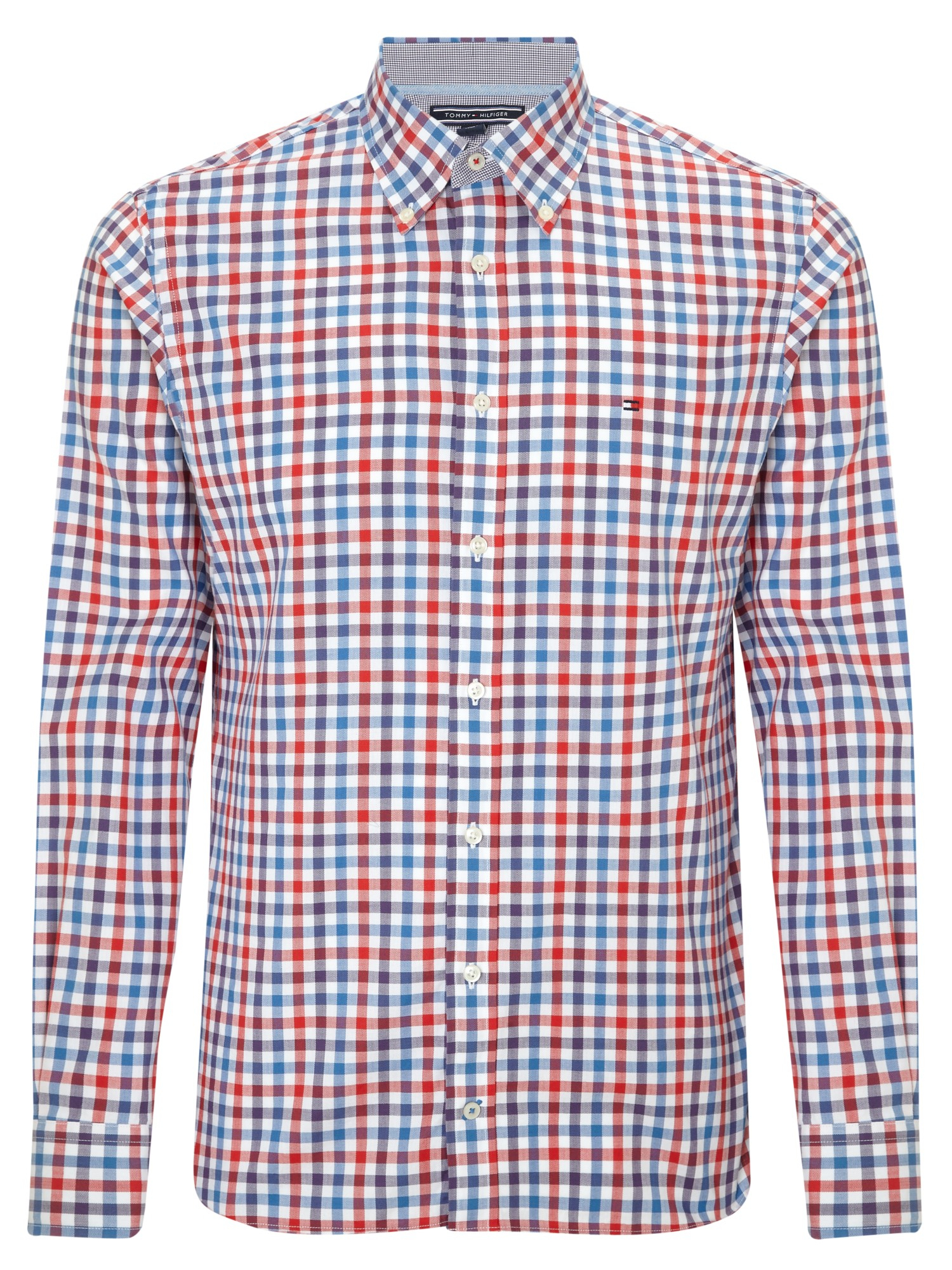 Tommy hilfiger multi gingham print shirt in red for men lyst for Tommy hilfiger gingham dress shirt