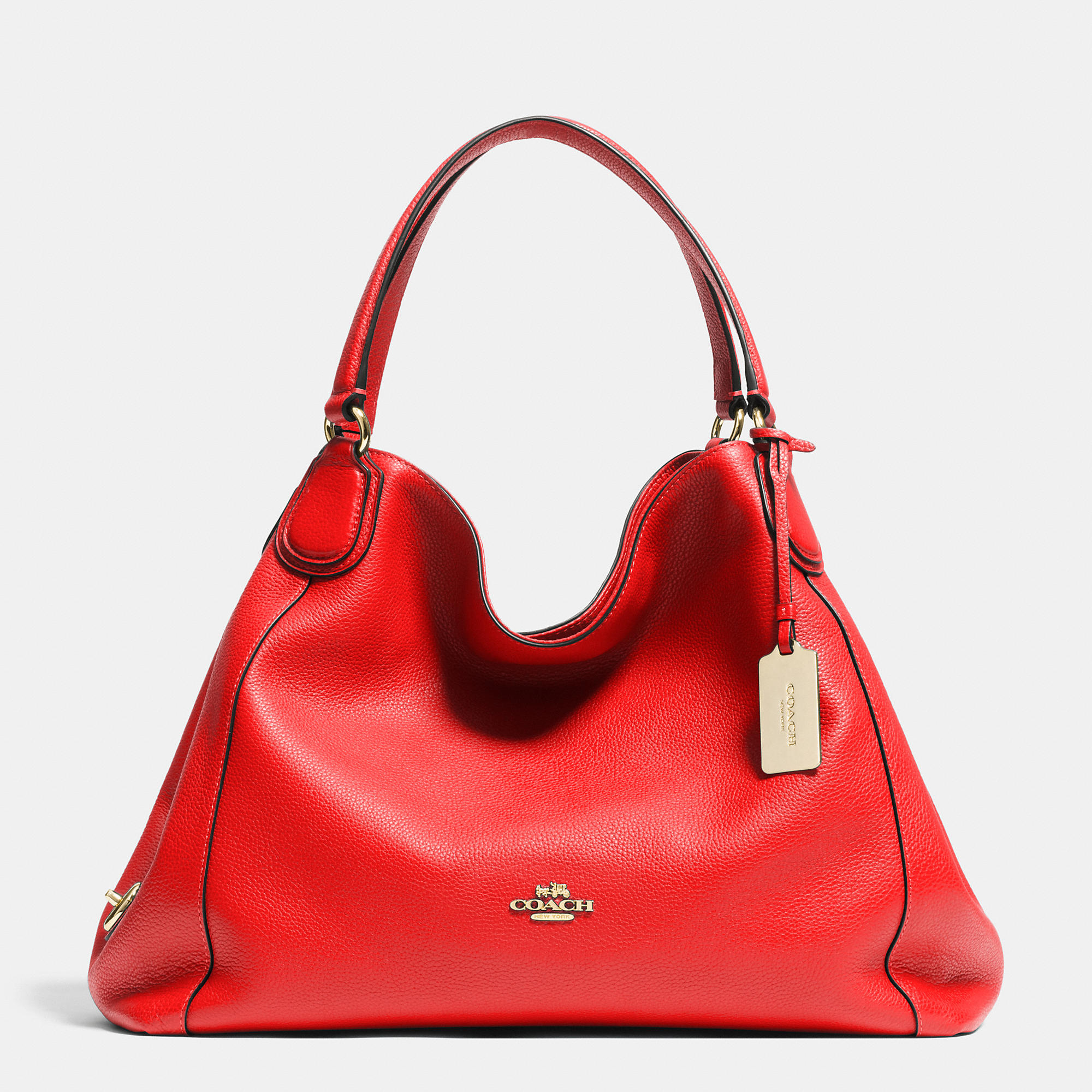 199547c3a ... france lyst coach edie shoulder bag in pebble leather in red b8073 af5c8