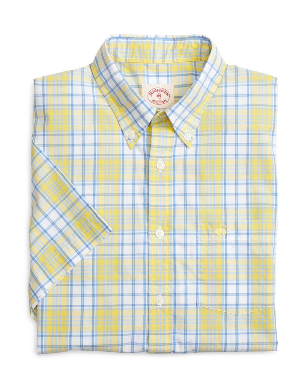 Brooks Brothers Yellow And Blue Plaid Short Sleeve Sport