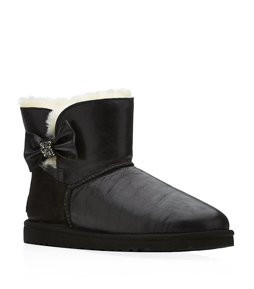 ugg mini bailey bow crystal boot in black lyst. Black Bedroom Furniture Sets. Home Design Ideas