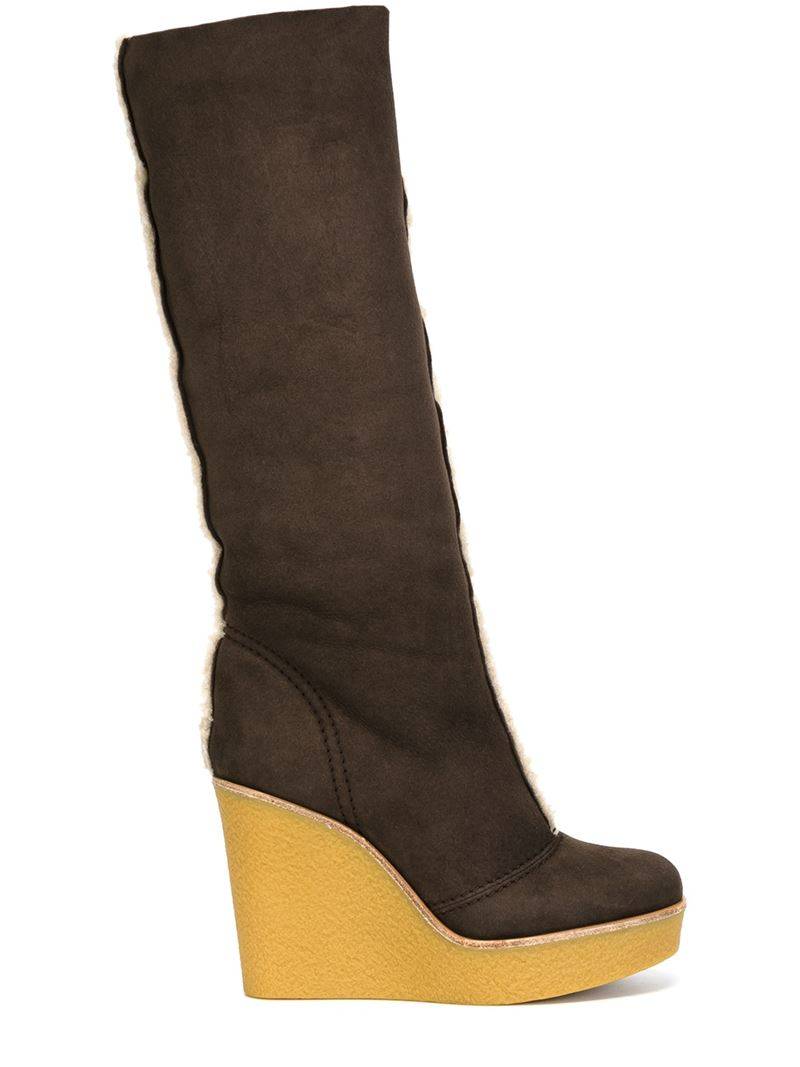 chlo 233 wedge boots in brown lyst