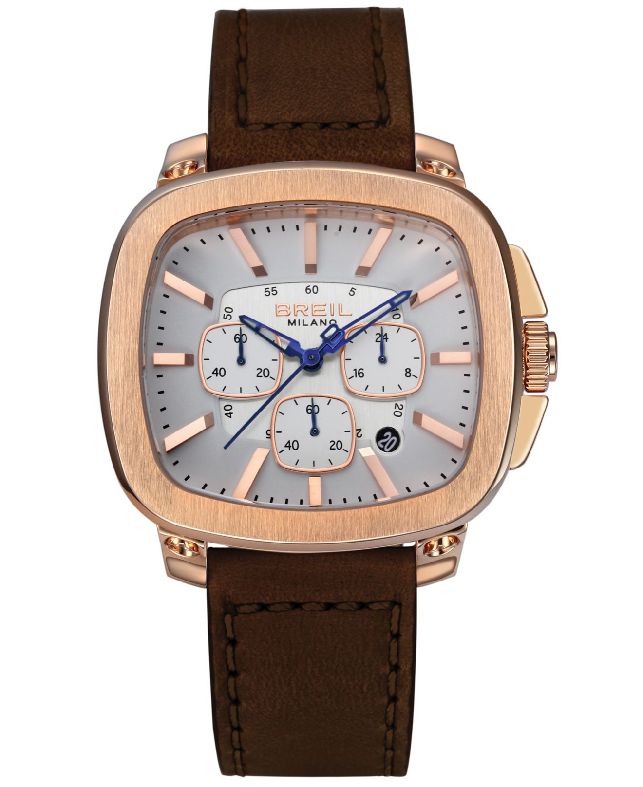 breil milano men s chronograph brown leather strap watch 45mm gallery