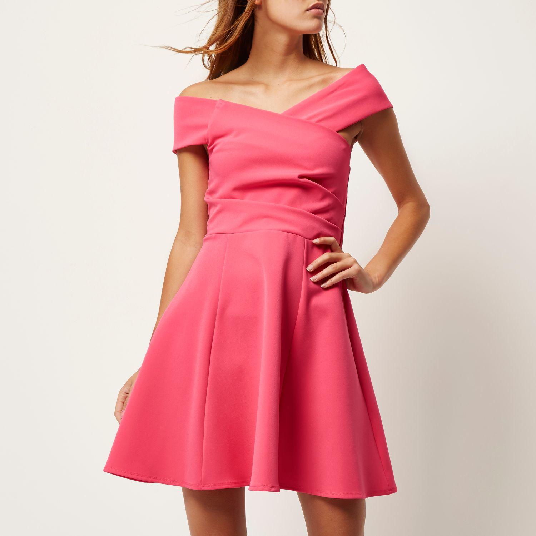 River Island Red Bardot Dress