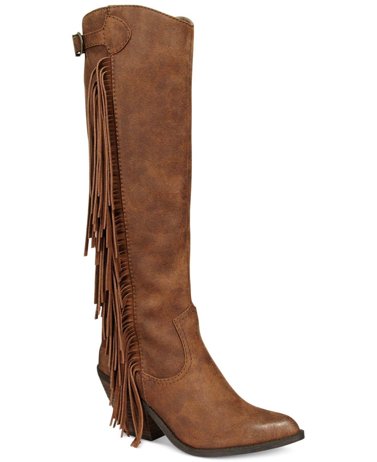 carlos by carlos santana lever fringe boots in brown lyst